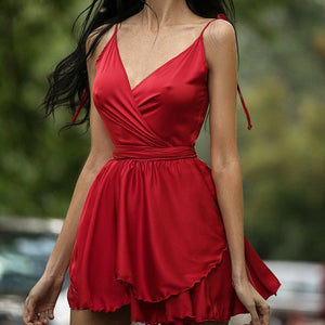 Sexy Low-Cut Crossover Fashion V-Neck Dress