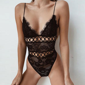 Low Chest Sling Sexy Lace Jumpsuit