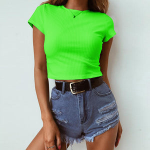 Round Neck Short Sleeve Slim Solid Color T-Shirt