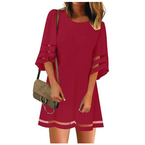 Round Neck Long Sleeve Women'S Stitching Chiffon Dress