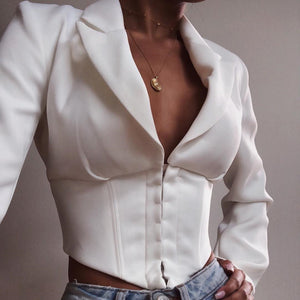Deep V-Neck Long Sleeve Button Cardigan Tops