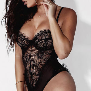 Mesh Yarn Stitching Underwear Jumpsuit