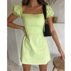 Solid Color Sexy Slim Short-Sleeved Dress