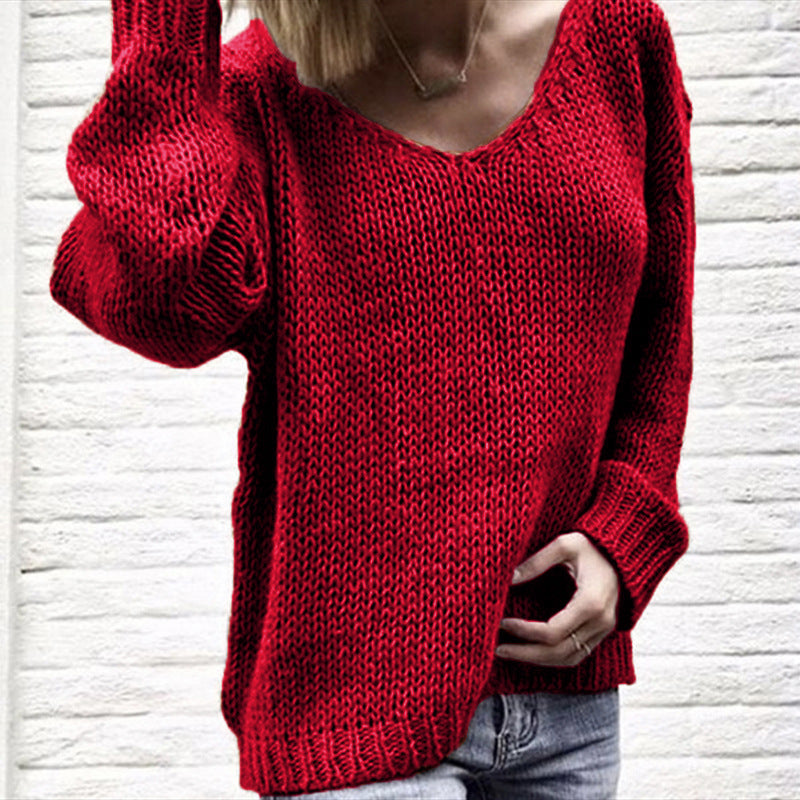 Large Size Loose Long Sleeve V-Neck Off-The-Shoulder Knit Sweater
