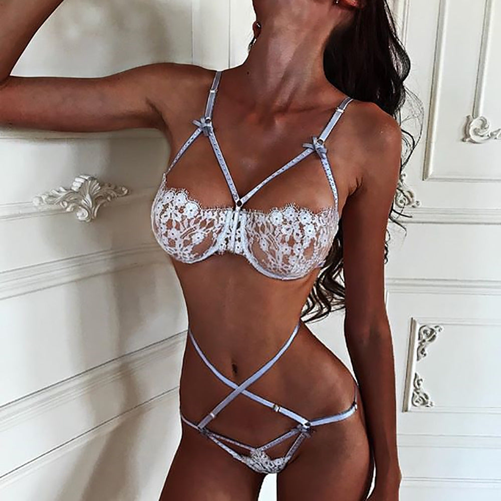 Fashion Cross Belt Lace Underwear Two-Piece Suit