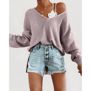 Casual Long Sleeve V-Neck Loose Sweater