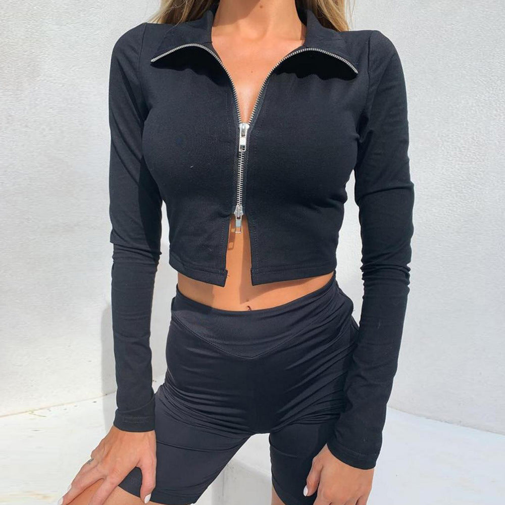 Solid Color Women'S Long Sleeve Zipper Slim T-Shirt