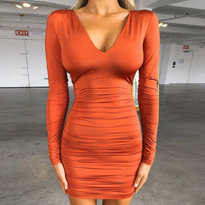 Women's Long Sleeve V-neck Halter Sexy Bag Hip Dress