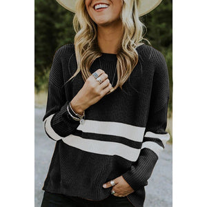 Round Neck Women'S Long Sleeve Knit Sweater