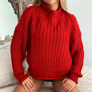 Loose Solid Color Sexy Long Sleeve Sweater
