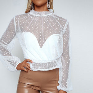 Lace Stitching Round Neck Long-Sleeved T-Shirt