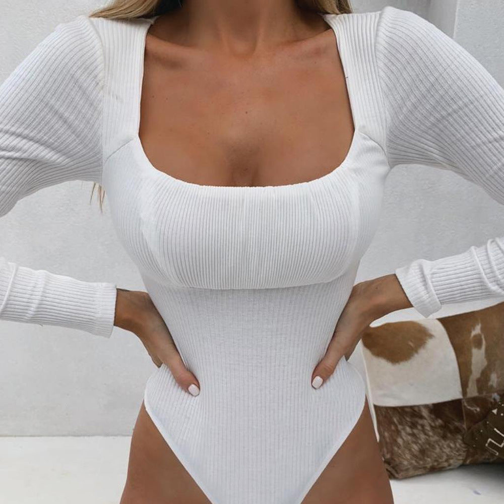 Long Sleeved Solid Color Sexy Jumpsuit