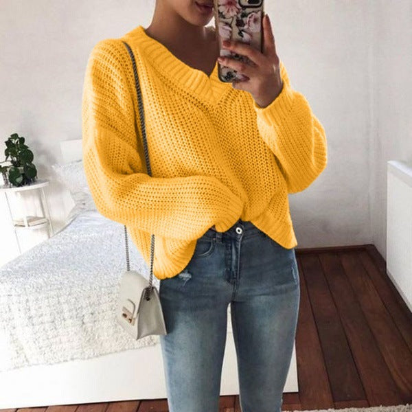 Solid Color Women'S Loose V-Neck Long-Sleeved Sweater
