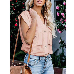 Women'S Short-Sleeved Solid Color Button Top Shirt