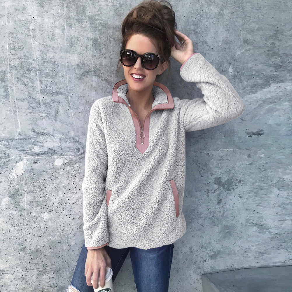 High-Necked Zipper Pocket Long Sleeve Sweater