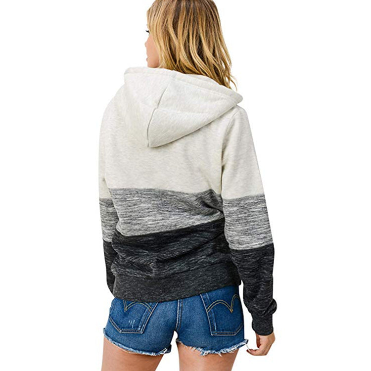 Zip Up Color Block Sweatshirt