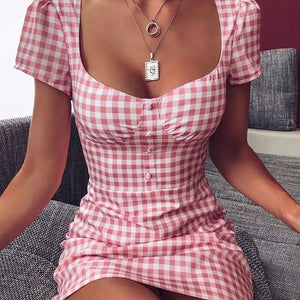 Women's Short Sleeve Buttoned Slim Plaid Dress