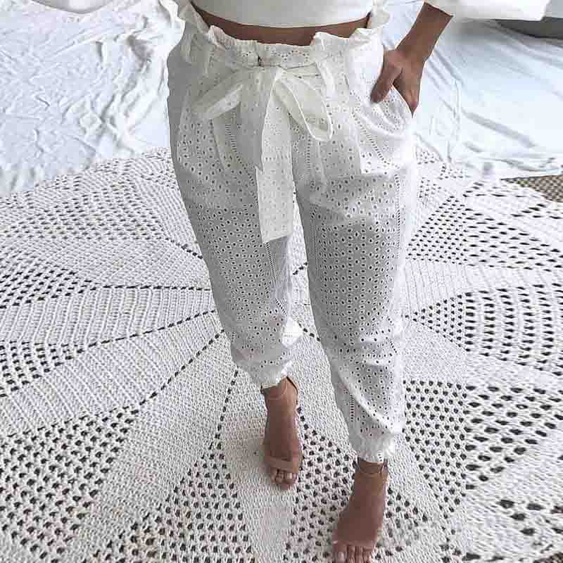 Printed White Trousers