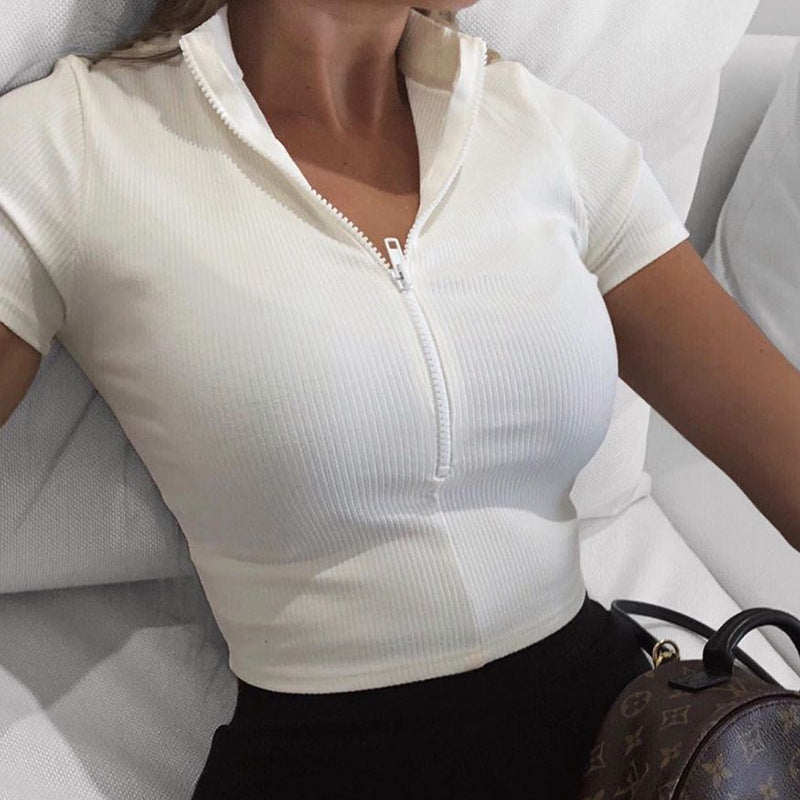 Zipper Sexy Slim Short Sleeve Top