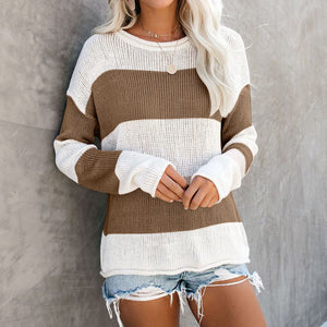 Round Neck Long Sleeve Women'S Knit Sweater
