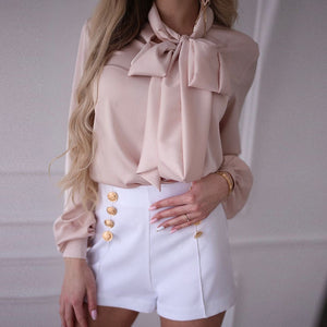 Temperament Bow Long Sleeve Shirt T-Shirt