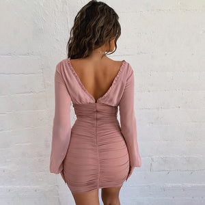 Long Sleeve V-Neck Backless Slim Dress