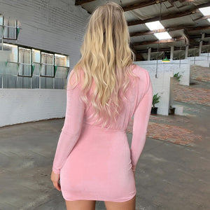 V-Neck Sexy Tight-Fitting Long-Sleeved Bag Hip Dress
