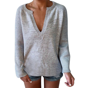 V-Neck Sexy Casual Knit Long-Sleeved Top
