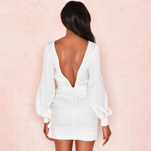 Long Sleeved Round Neck Sexy Backless Temperament Dress
