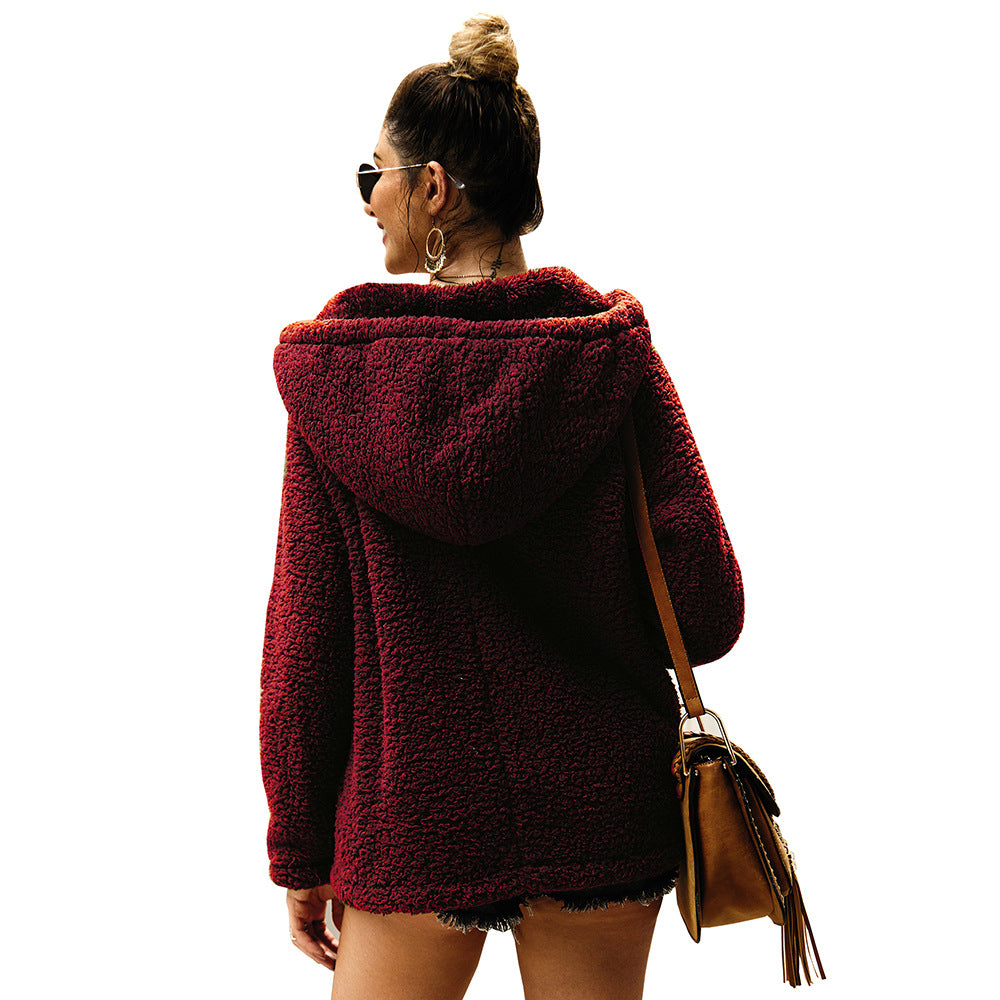 Solid Color Women'S V-Neck Sexy Hooded Sweater
