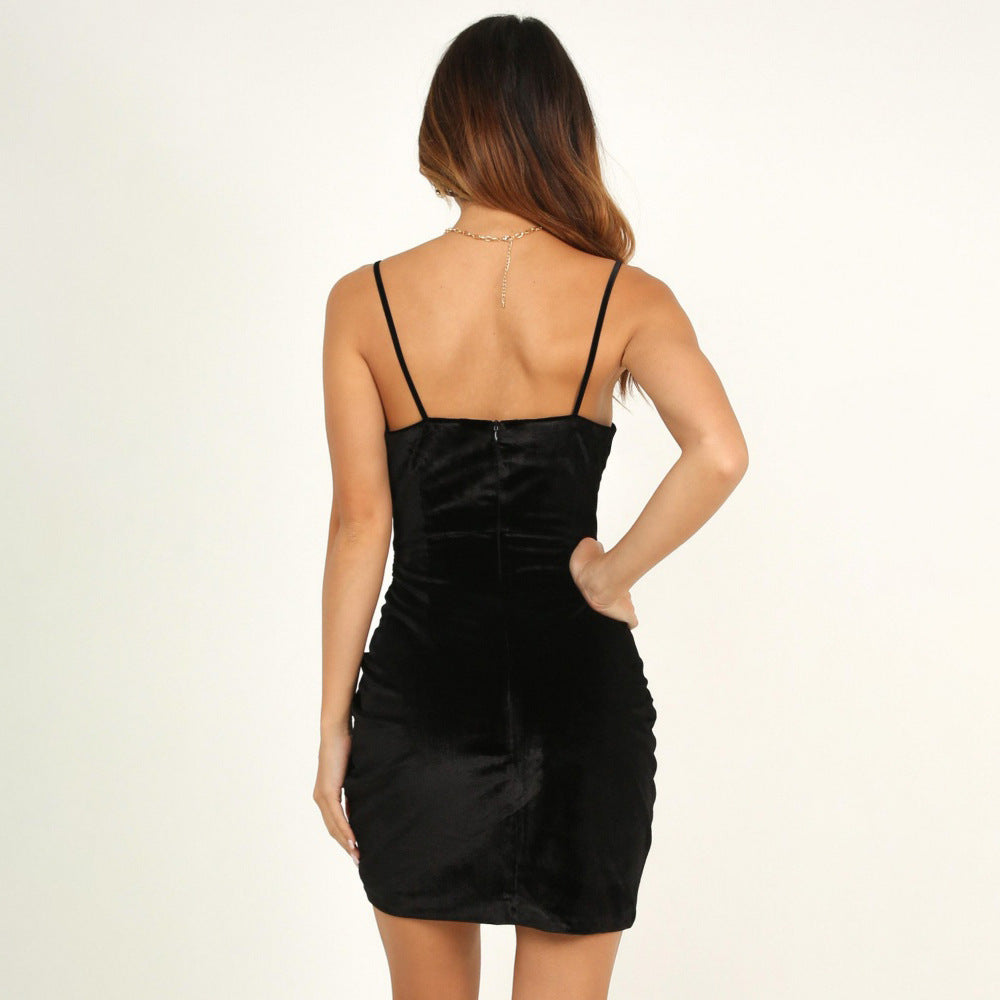 Open Back Solid Color High Waist Strap Dress