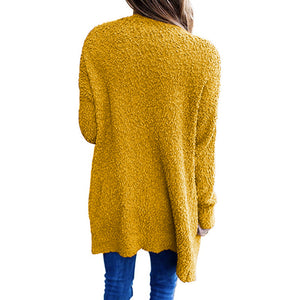Knitted Solid Color Pocket Cardigan Sweater