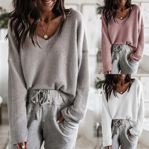 V-Neck Knit Long Sleeve Sweater