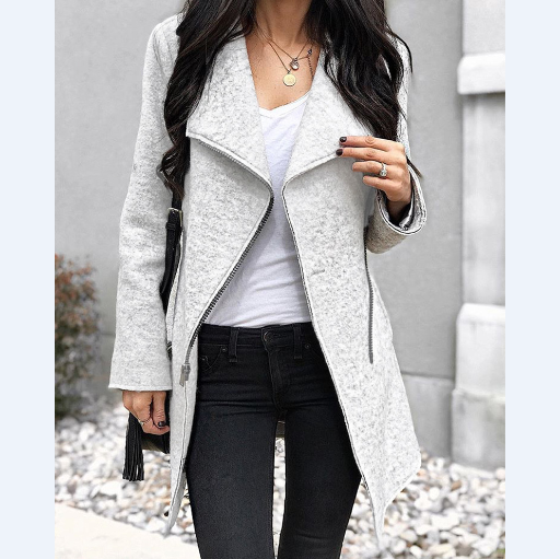 Women'S Fashion Irregular Zipper Jacket
