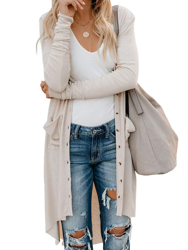 Loose-Breasted Cardigan Long-Sleeved Button Knit Jacket