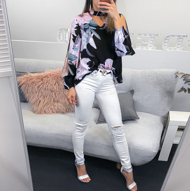Printed Long Sleeve Button V-Neck Shirt