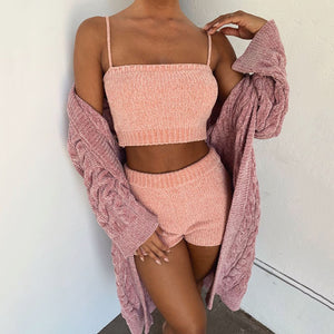 Casual Knit Shorts Two-piece Set