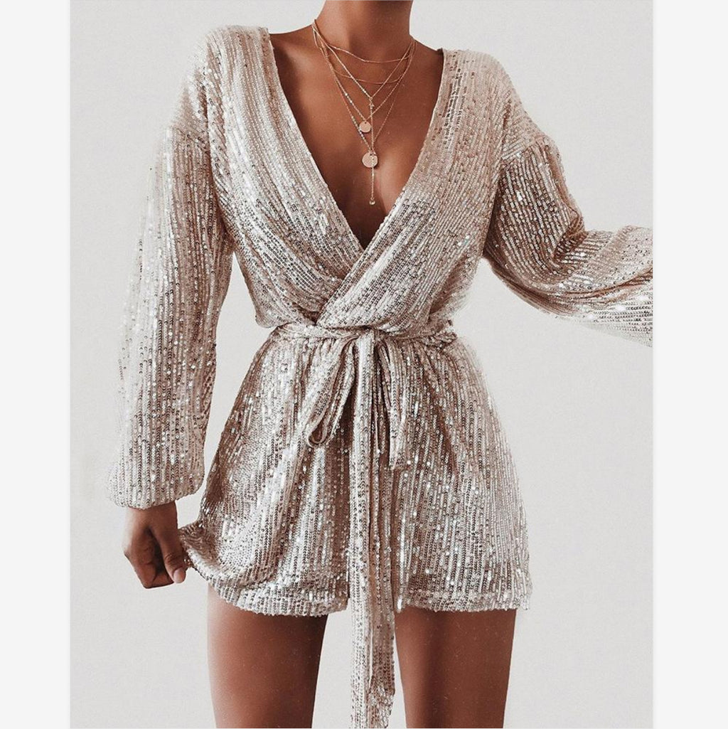 Long Sleeve Sequined Jumpsuit