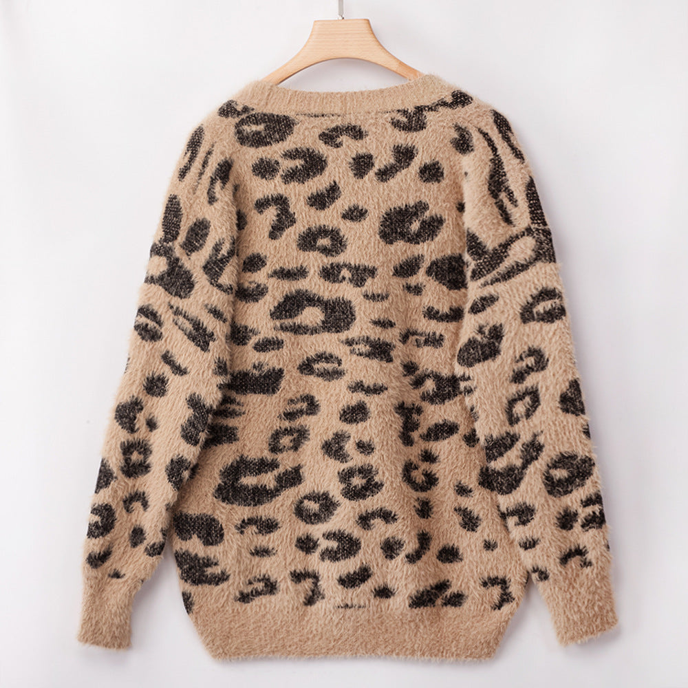 Leopard Print Furry Cardigan Jacket