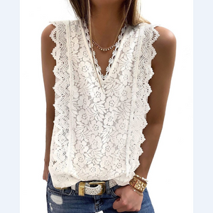 V-Neck Crochet Lace Casual Tank Top