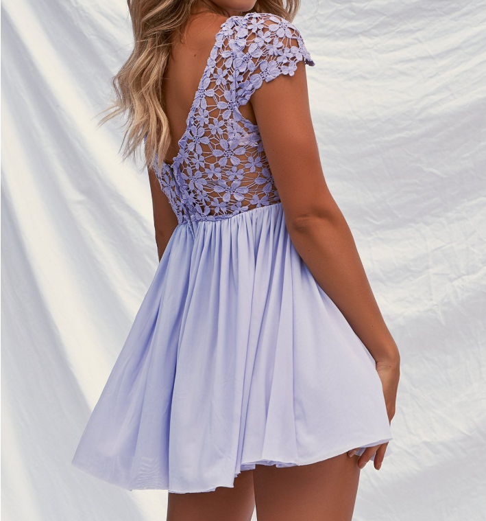 Lace Stitching Chiffon Backless Dress
