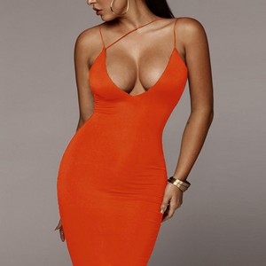 Sling V-Neck Sexy Package Hip Dress