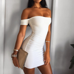 Solid Color Sexy Short-Sleeved Dress