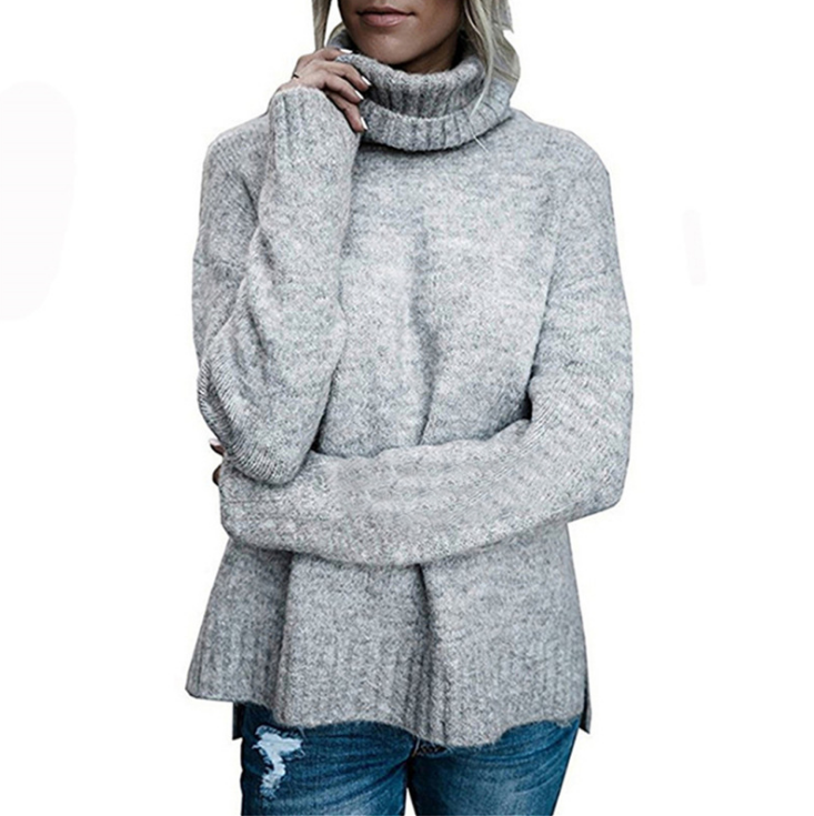 Solid Color Fashion High Neck Knit Sweater