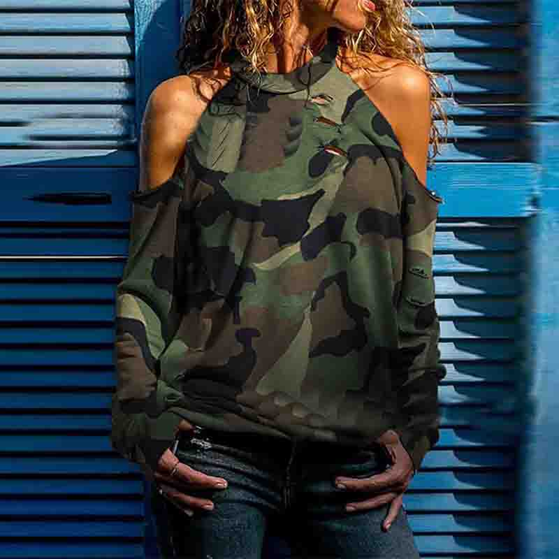 Camouflage Cold Shoulder Distress Design Casual Blouse