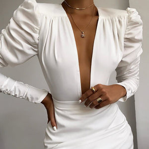 Slim V-Neck Sexy Long-Sleeved Dress