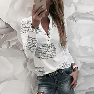 Button Fashion Printed Letter Long Sleeve Shirt