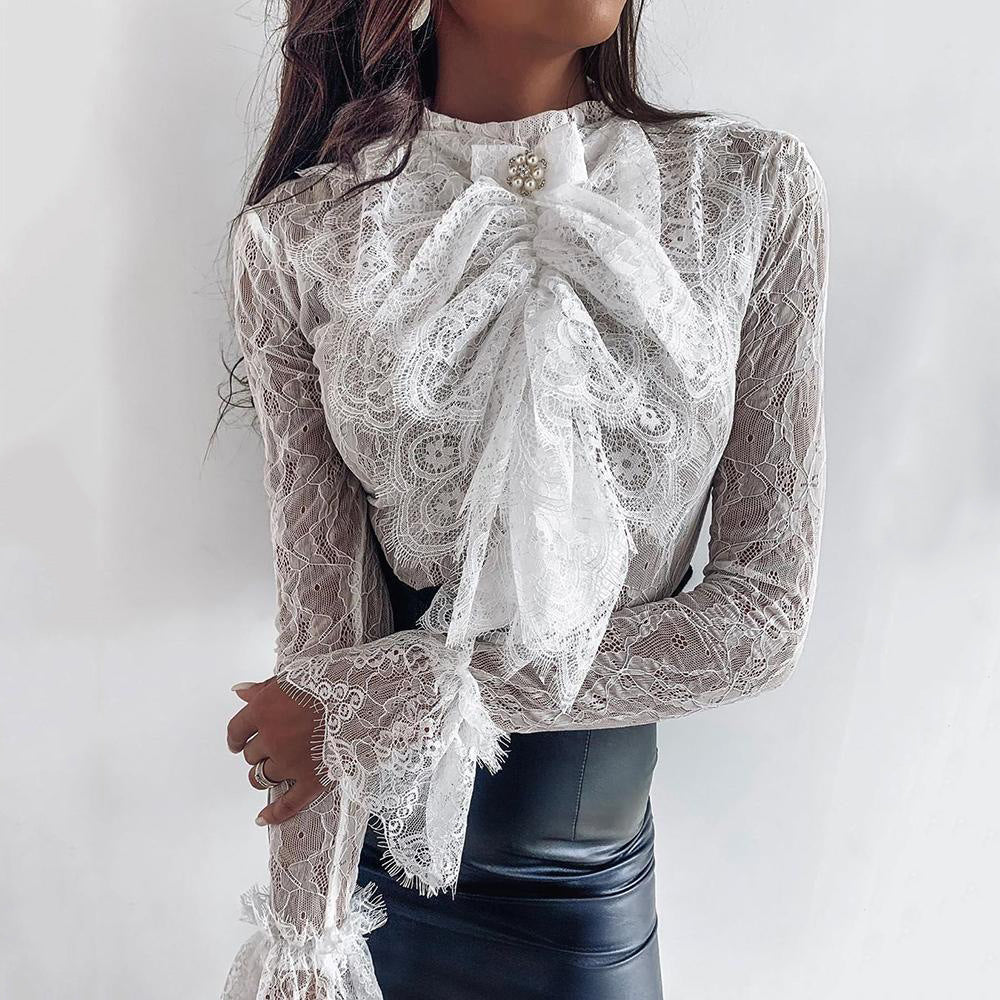 Tight-Fitting Solid Color Lace Long-Sleeved Top