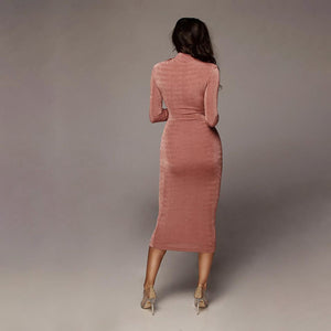 Round Neck Long Sleeve Sexy Slim Dress