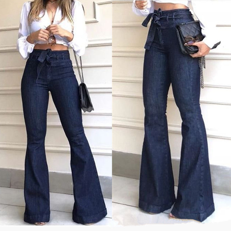 Flared High Waist Casual Jeans